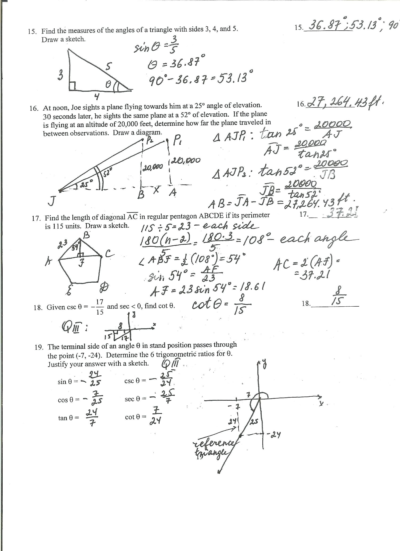 Trig Word Problems Worksheet Answers Tangent Trigonometric Identities Worksheet