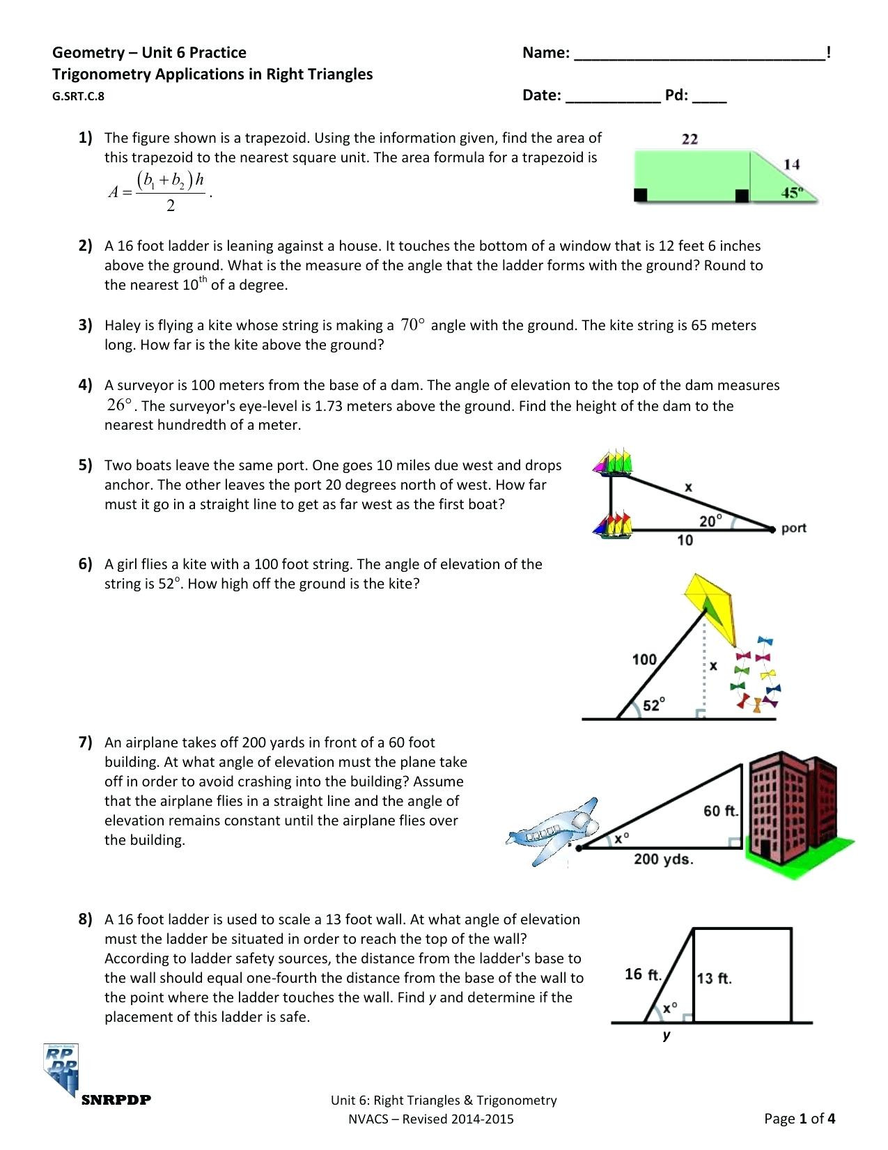 Trig Word Problems Worksheet Answers Trigonometry Angle Elevation Worksheet