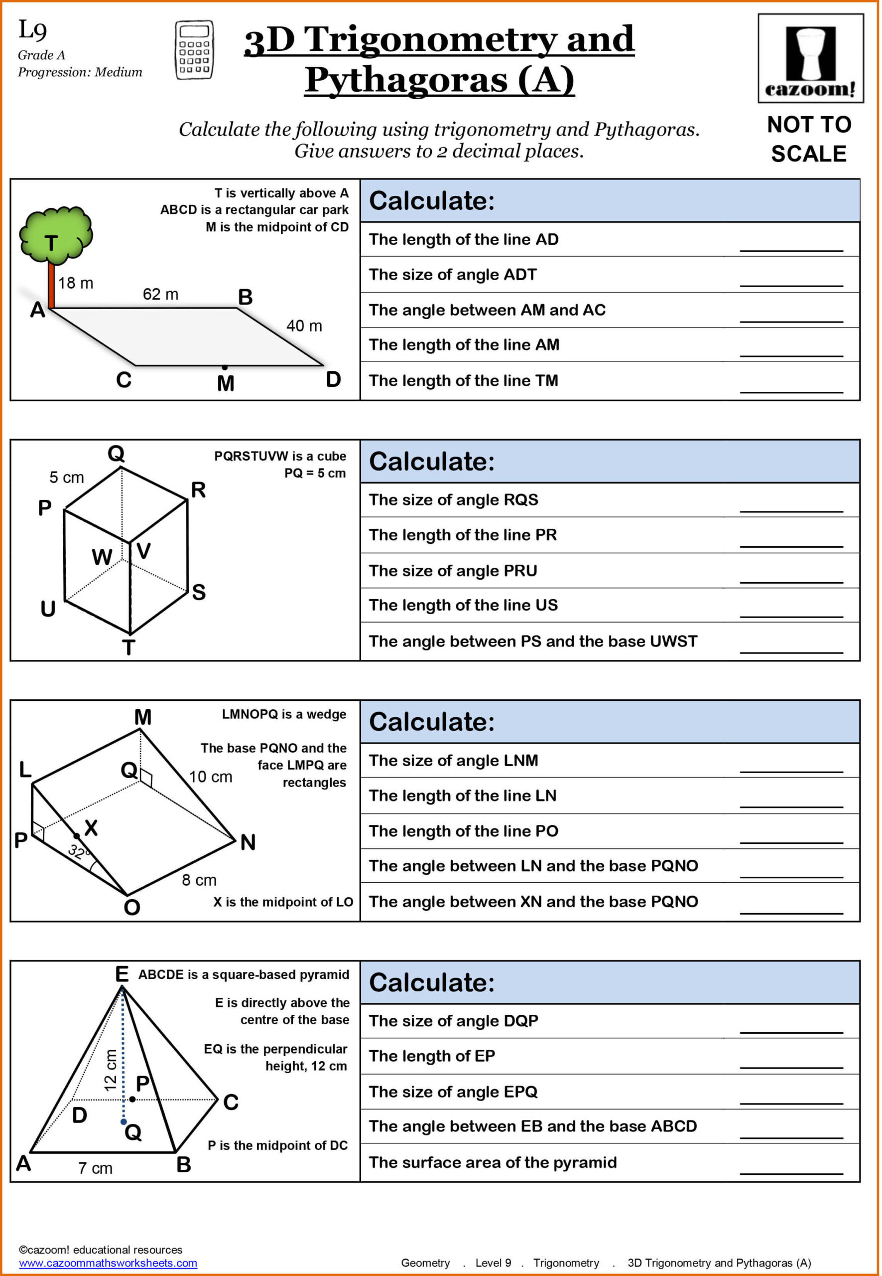 Trig Word Problems Worksheet Answers Year Maths Worksheets Cazoom Grade Essential Math Geometry