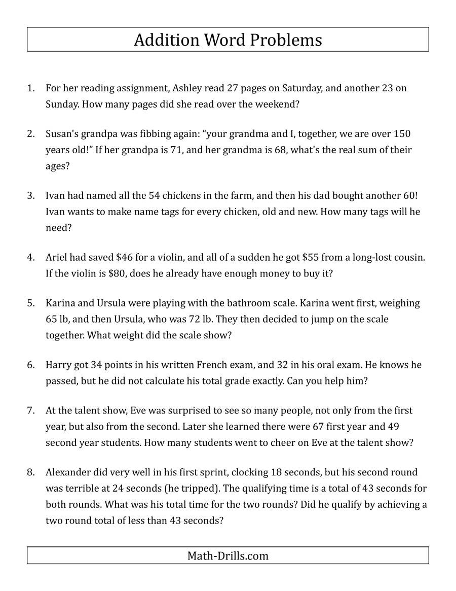 Two Step Word Problems Worksheet Single Step Addition Word Problems Using Two Digit Numbers A