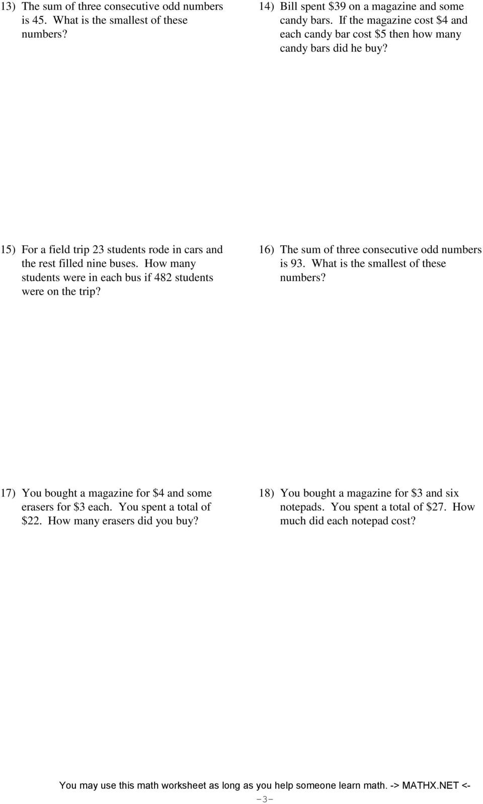 Two Step Word Problems Worksheet Two Step Equations Word Problems Integers Pdf Free