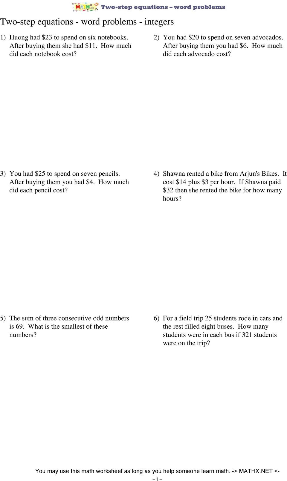 Two Step Word Problems Worksheet Two Step Equations Word Problems Integers Worksheet