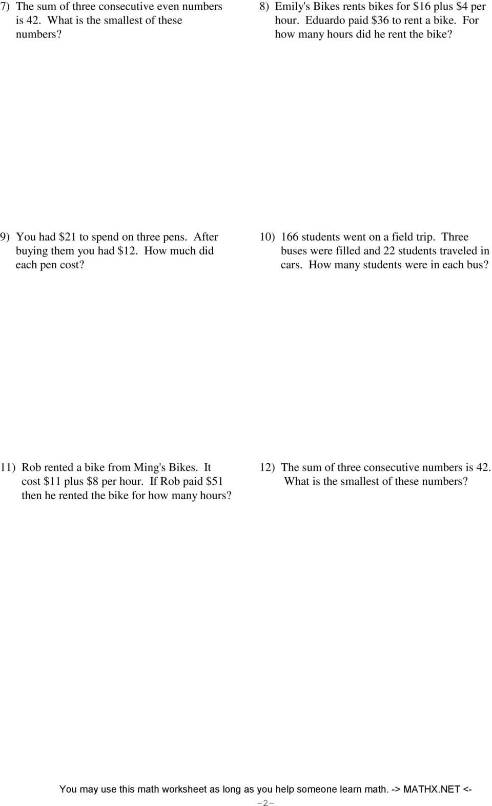 Two Step Word Problems Worksheet Two Step Equations Word Problems Pdf Tessshebaylo