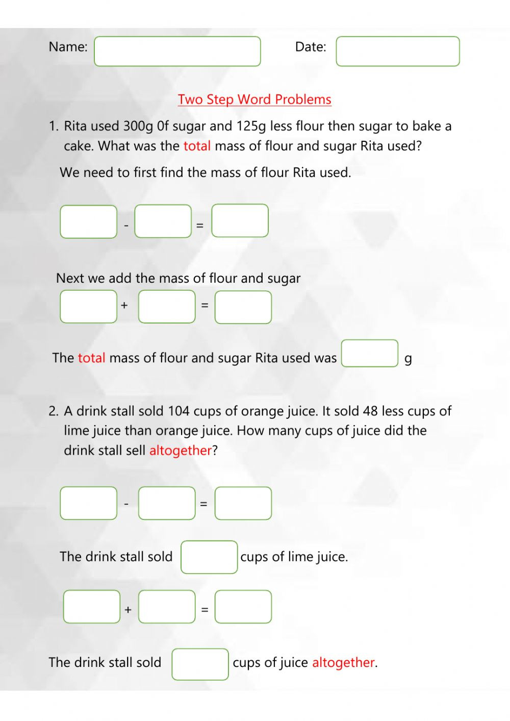 Two Step Word Problems Worksheet Two Step Word Problems Interactive Worksheet