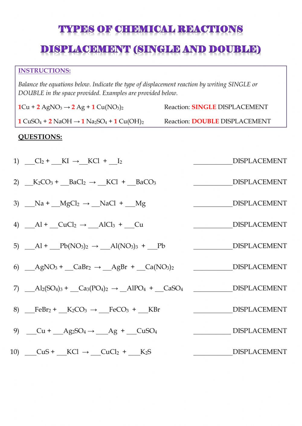 Types Of Chemical Reactions Worksheet Types Of Reactions Double and Single Displacement
