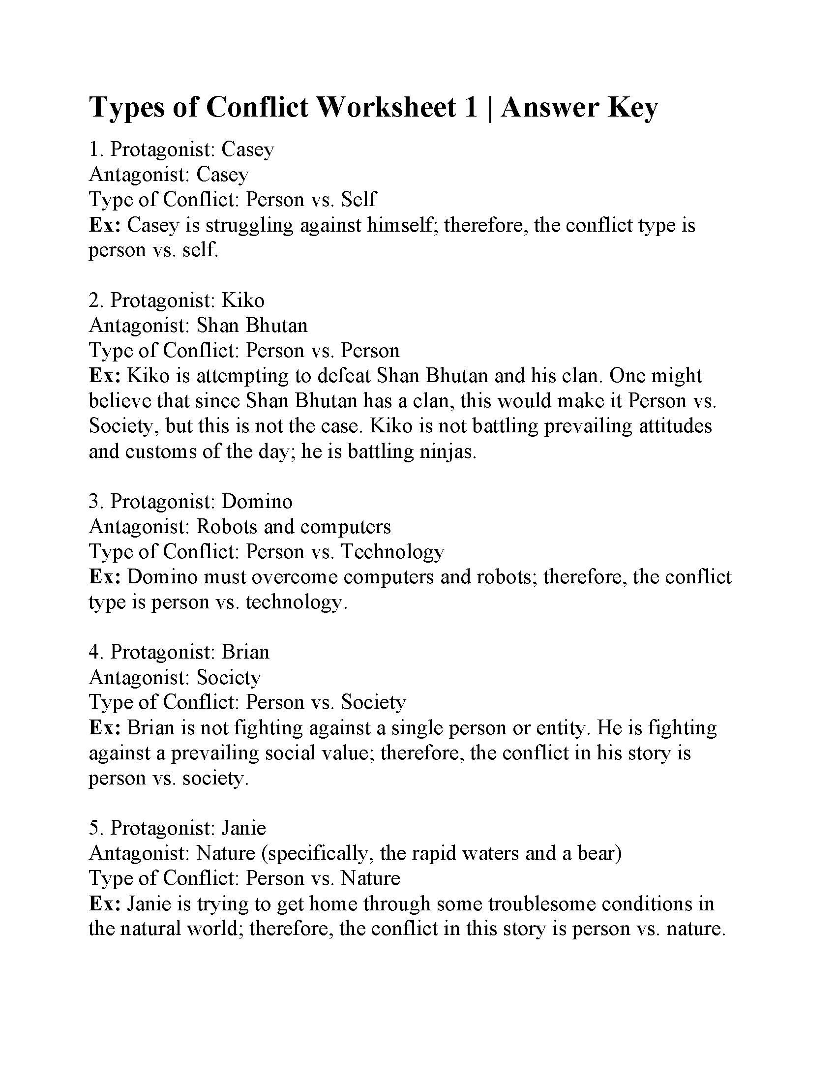 Types Of Conflict Worksheet 35 Character Types Worksheet 1 Worksheet Project List