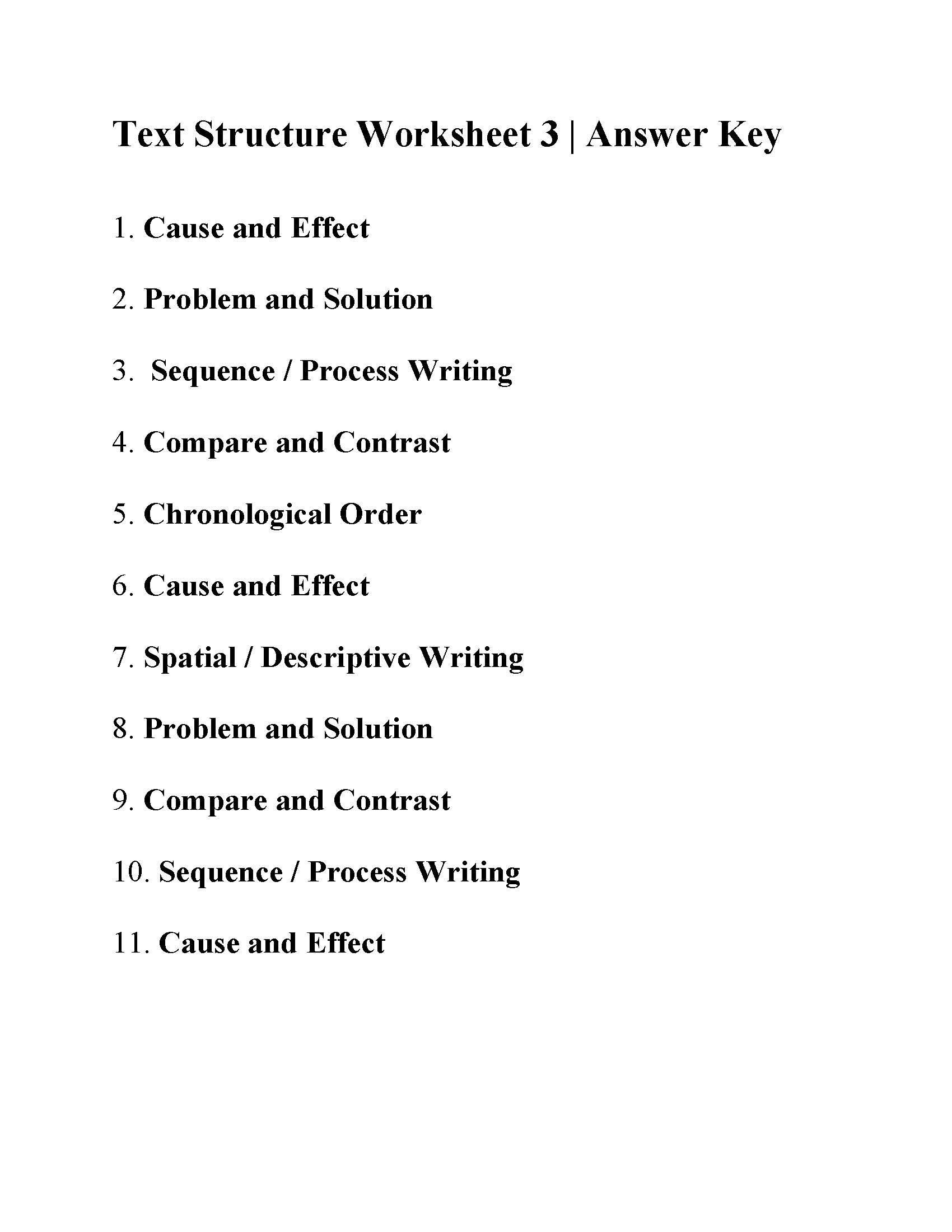 Types Of Conflict Worksheet This is the Answer Key for the Text Structure Worksheet 3