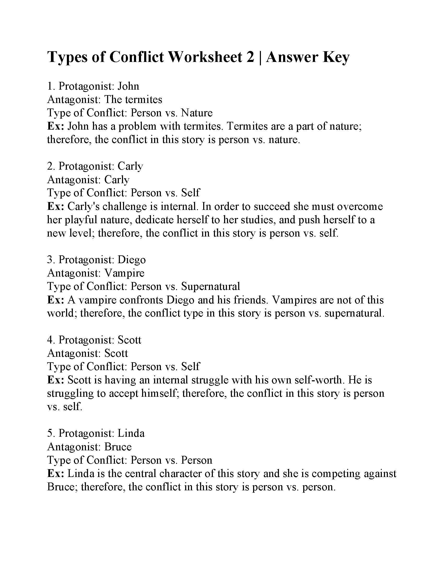 Types Of Conflict Worksheet This is the Answer Key for the Types Of Conflict Worksheet 2
