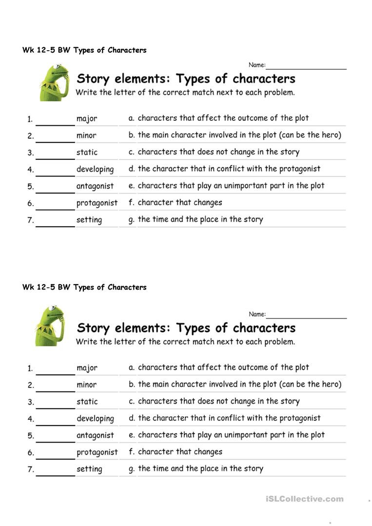 Types Of Conflict Worksheet Types Of Characters English Esl Worksheets for Distance