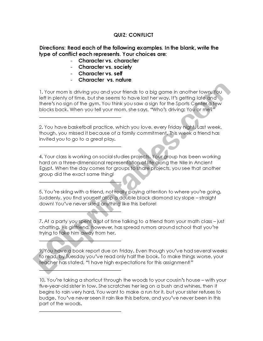 Types Of Conflict Worksheet Types Of Conflict Esl Worksheet by Cmbobino