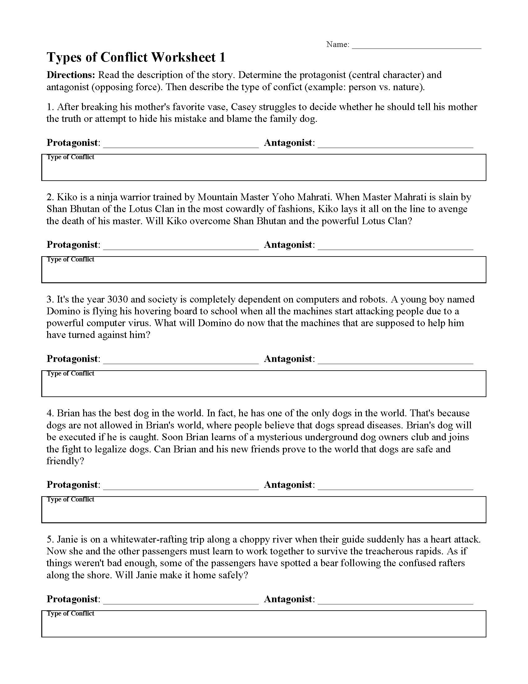 Types Of Conflict Worksheet Types Of Conflict Worksheet 1