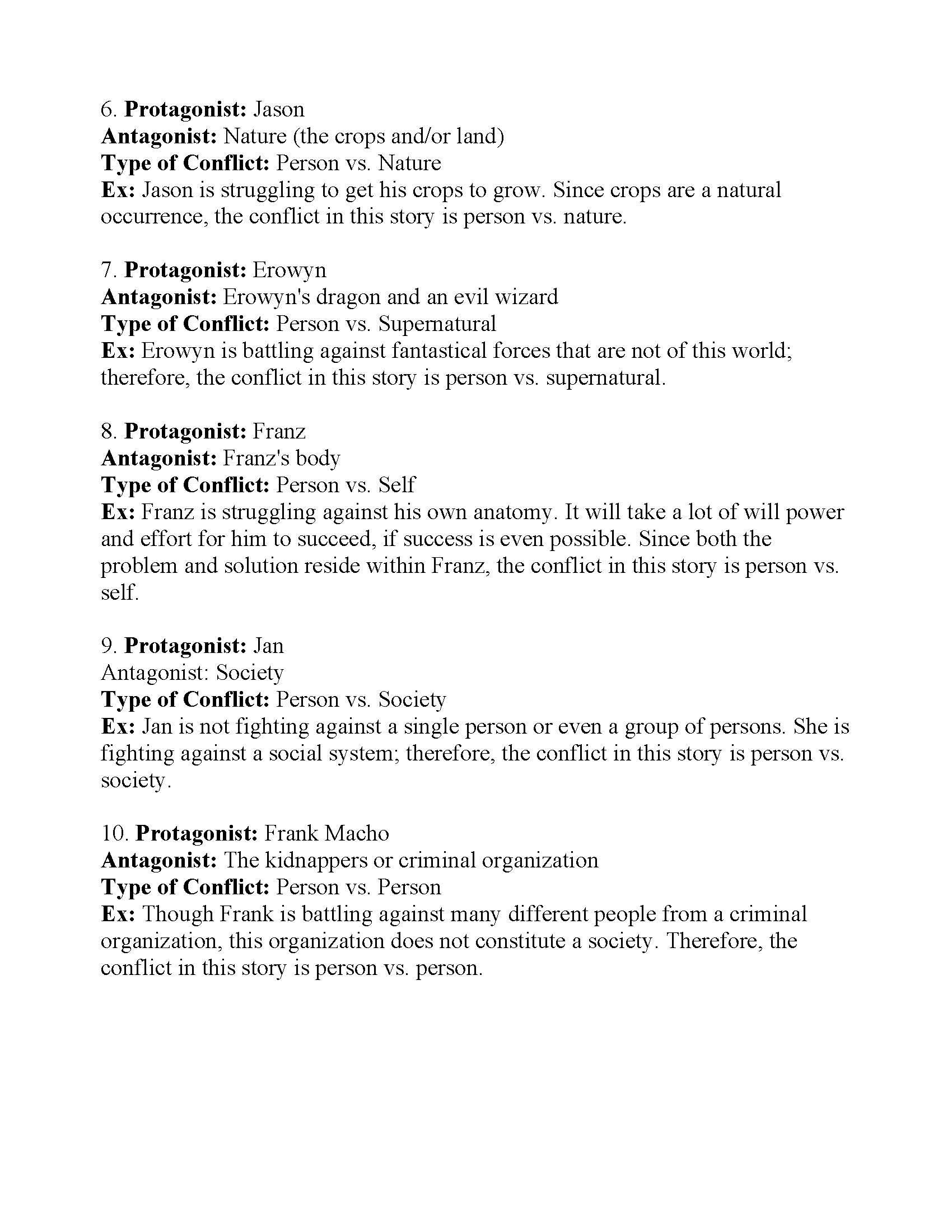 Types Of Conflict Worksheet Types Of Conflict Worksheet 4 Answers