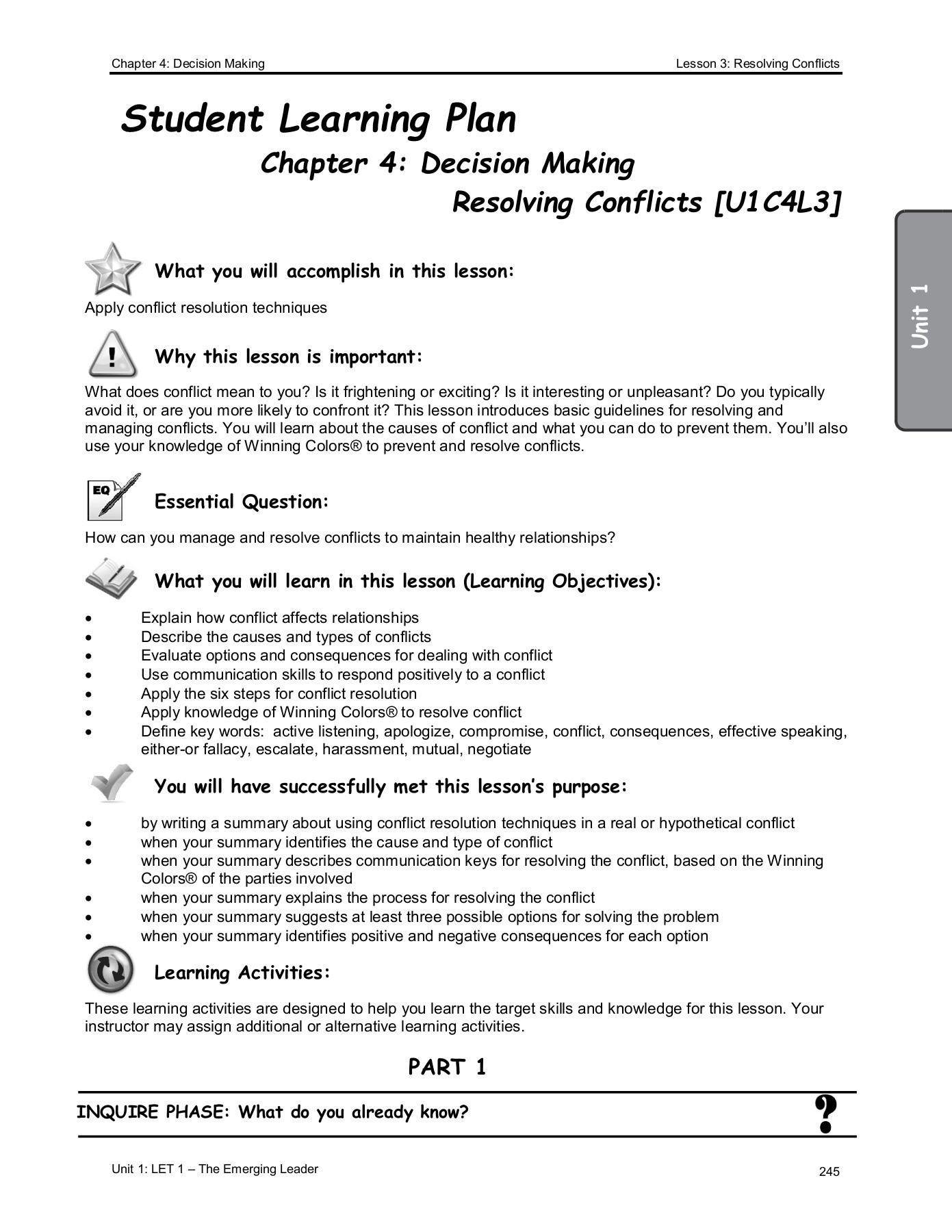 Types Of Conflict Worksheet Unit 1 Cadet Notebook Flip Book Pages 251 300