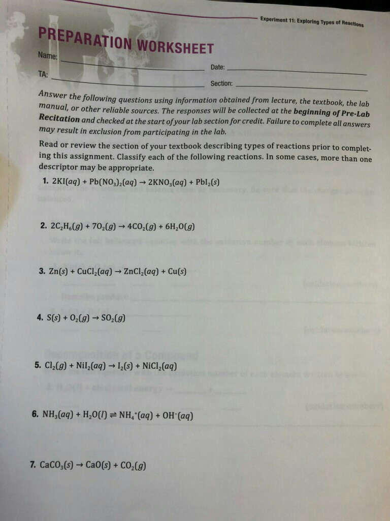 Types Of Reactions Worksheet Answers solved Experiment 11 Exploring Types Reactions Prepar