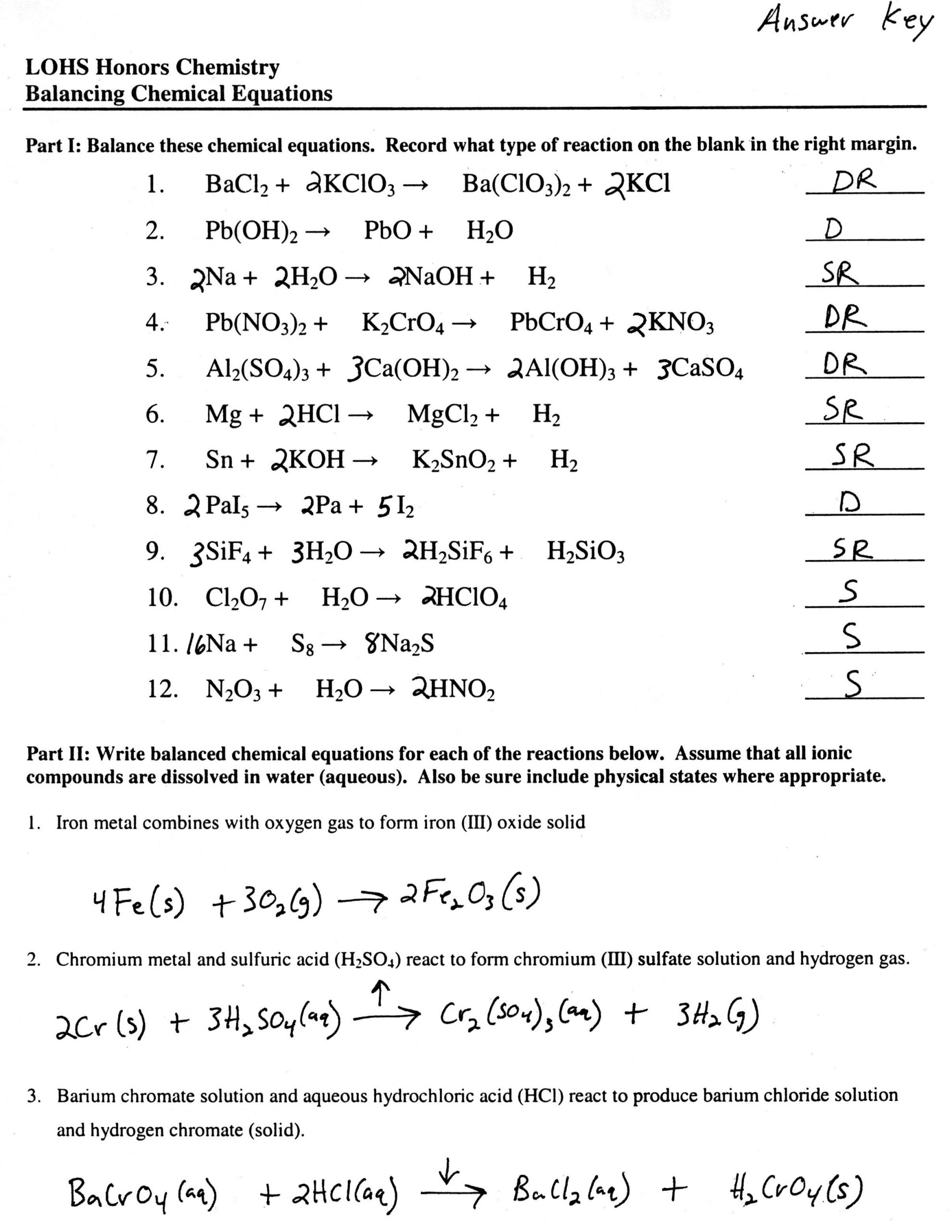 Types Of Reactions Worksheet Balancing Equations Worksheet In 2020