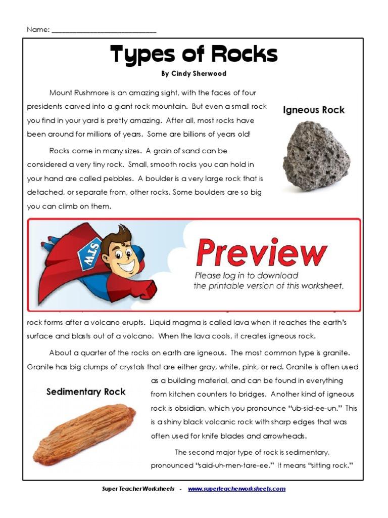 Types Of Rocks Worksheet Pdf 5th Types Of Rocks Igneous Rock