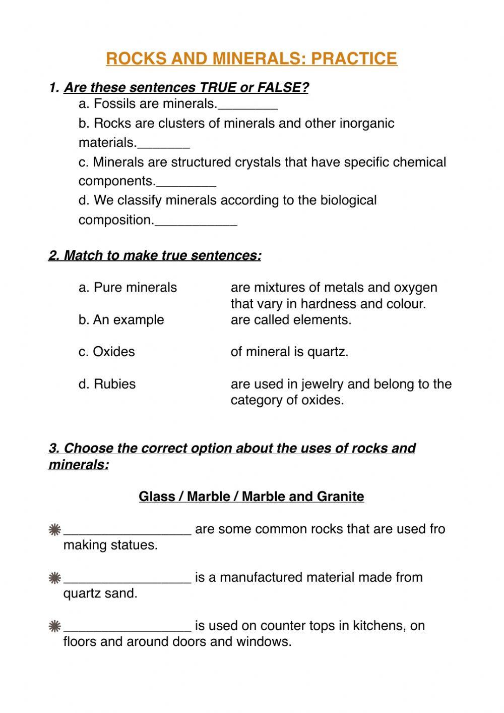 Types Of Rocks Worksheet Pdf Rocks and Mineral Practice Interactive Worksheet