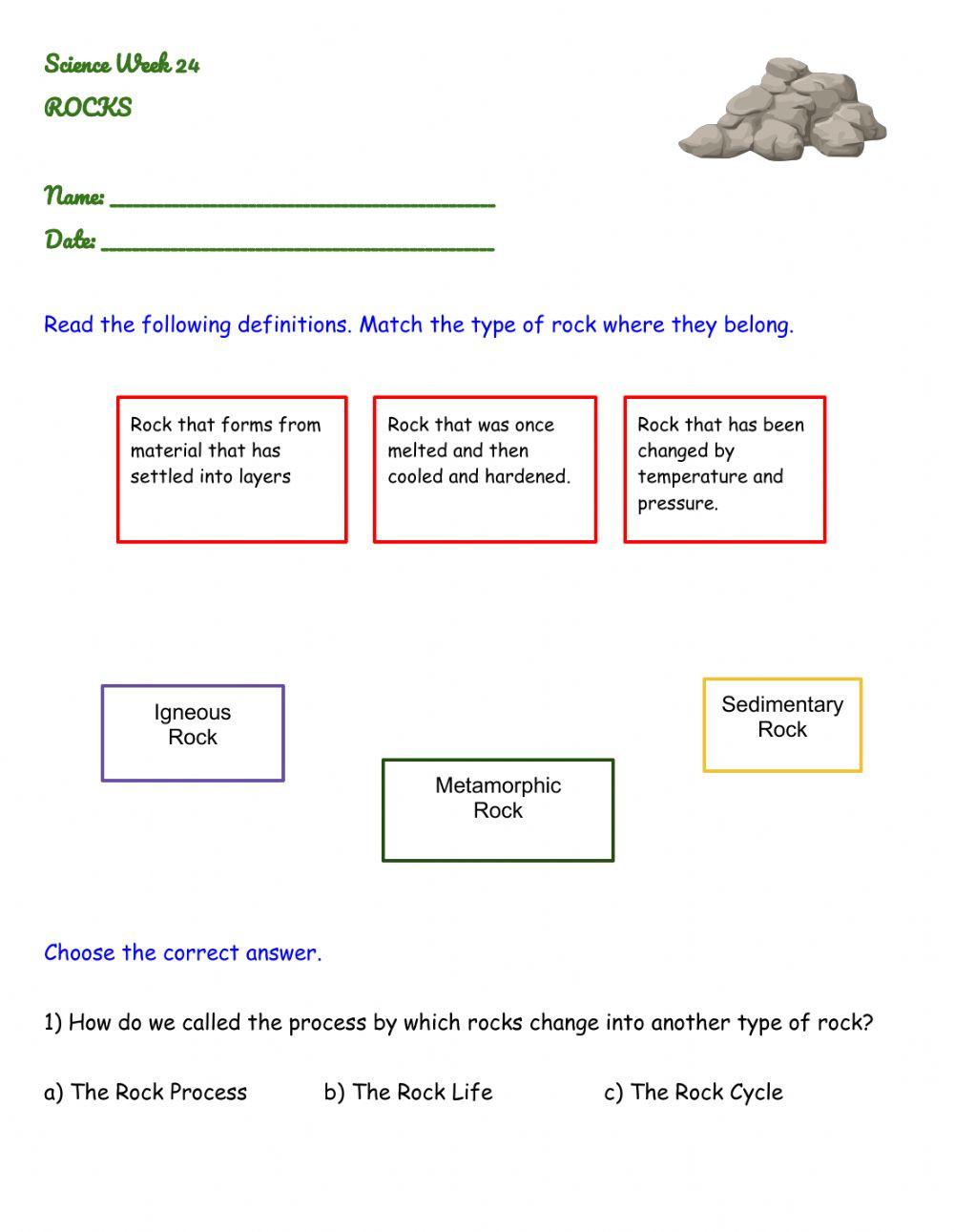 Types Of Rocks Worksheet Pdf Rocks Interactive Worksheet