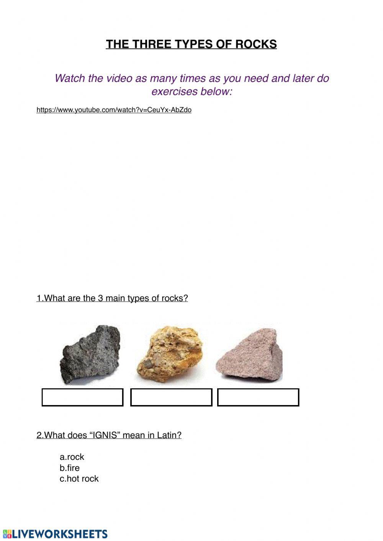 Types Of Rocks Worksheet Pdf Three Types Of Rocks Interactive Worksheet