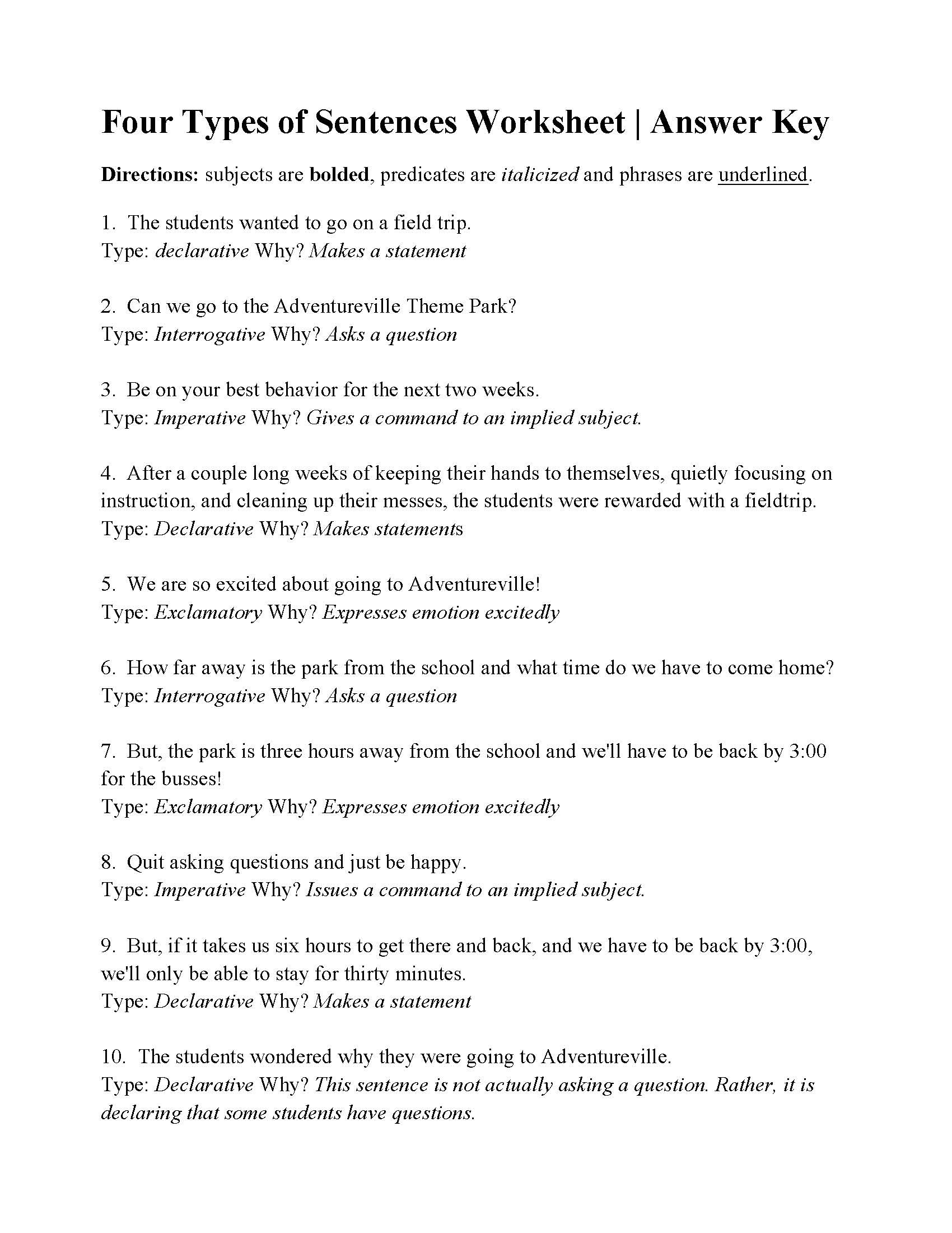 Types Of Sentences Worksheet Four Types Of Sentences Worksheet
