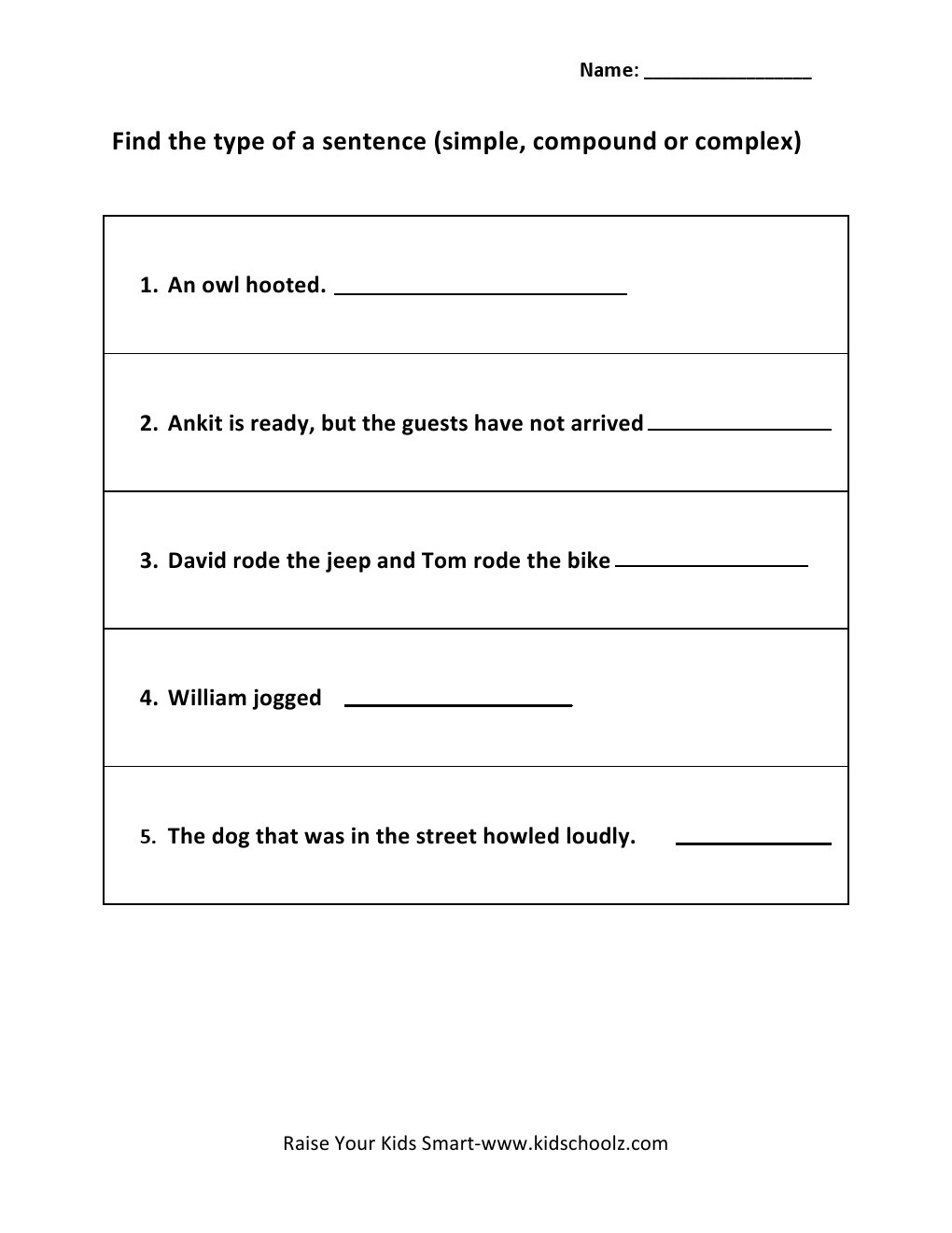 Types Of Sentences Worksheet Grade 5 Types Of Sentence Worksheets 2 Kidschoolz