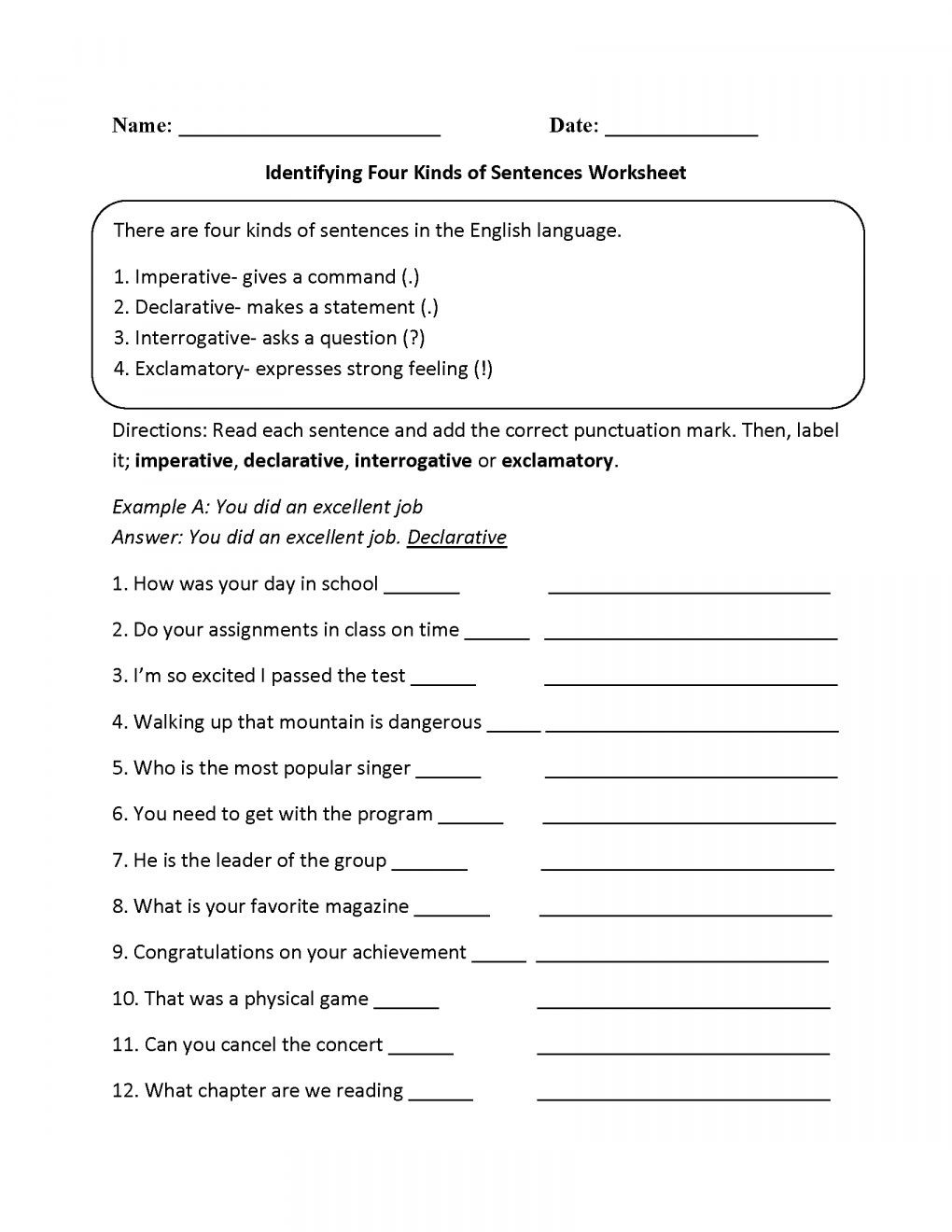 Types Of Sentences Worksheet Learning Image by Kim Caso In 2020