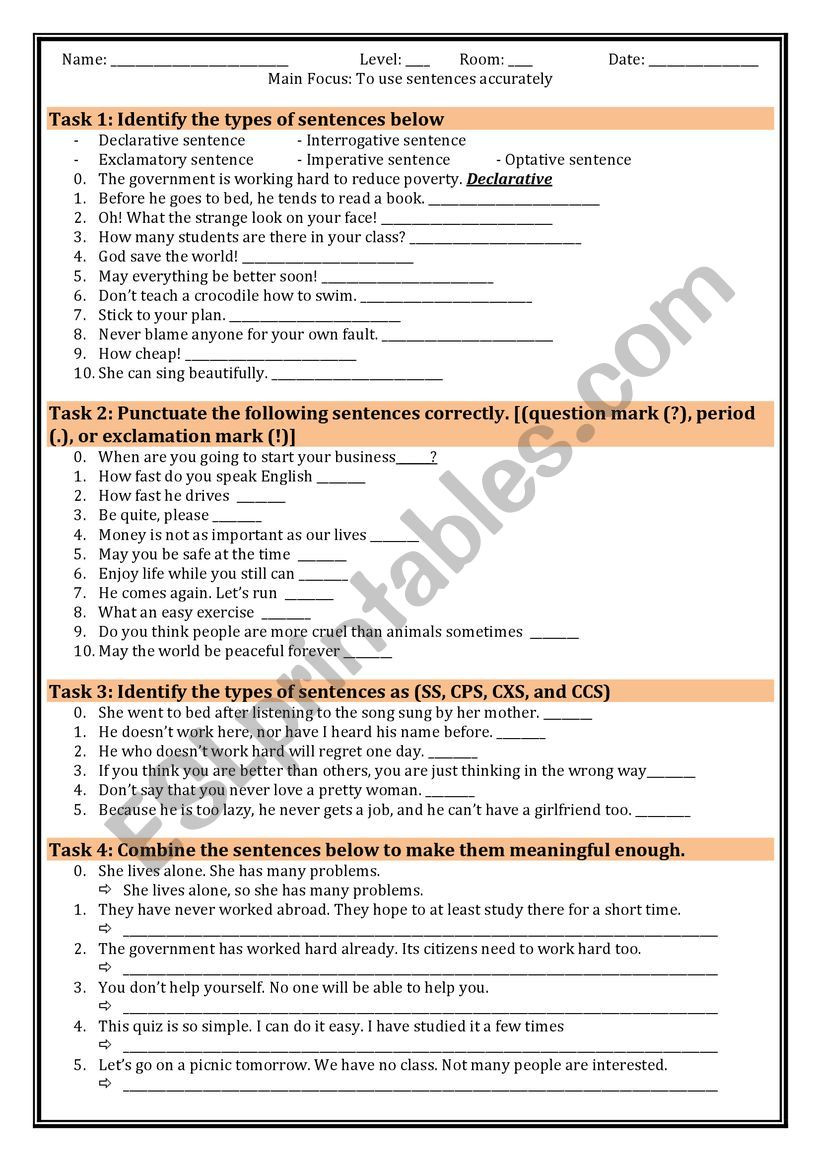 Types Of Sentences Worksheet Practice Of Types Of Sentences Esl Worksheet by