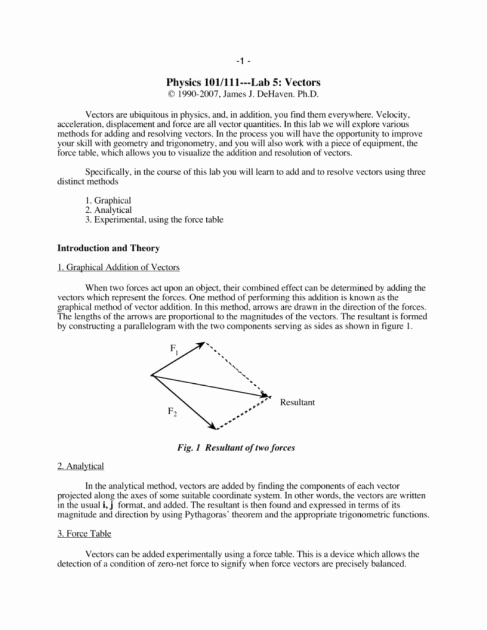 Vector Worksheet Physics Answers Vector Worksheets with Answers