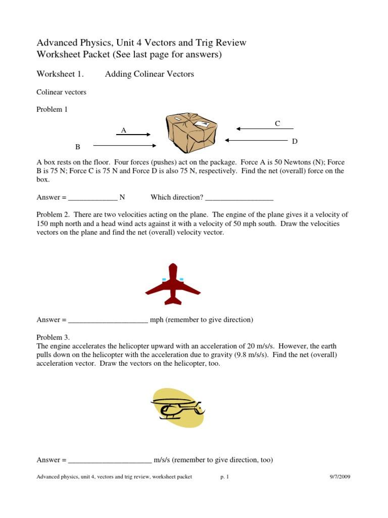 Vector Worksheet Physics Answers Vectors Euclidean Vector