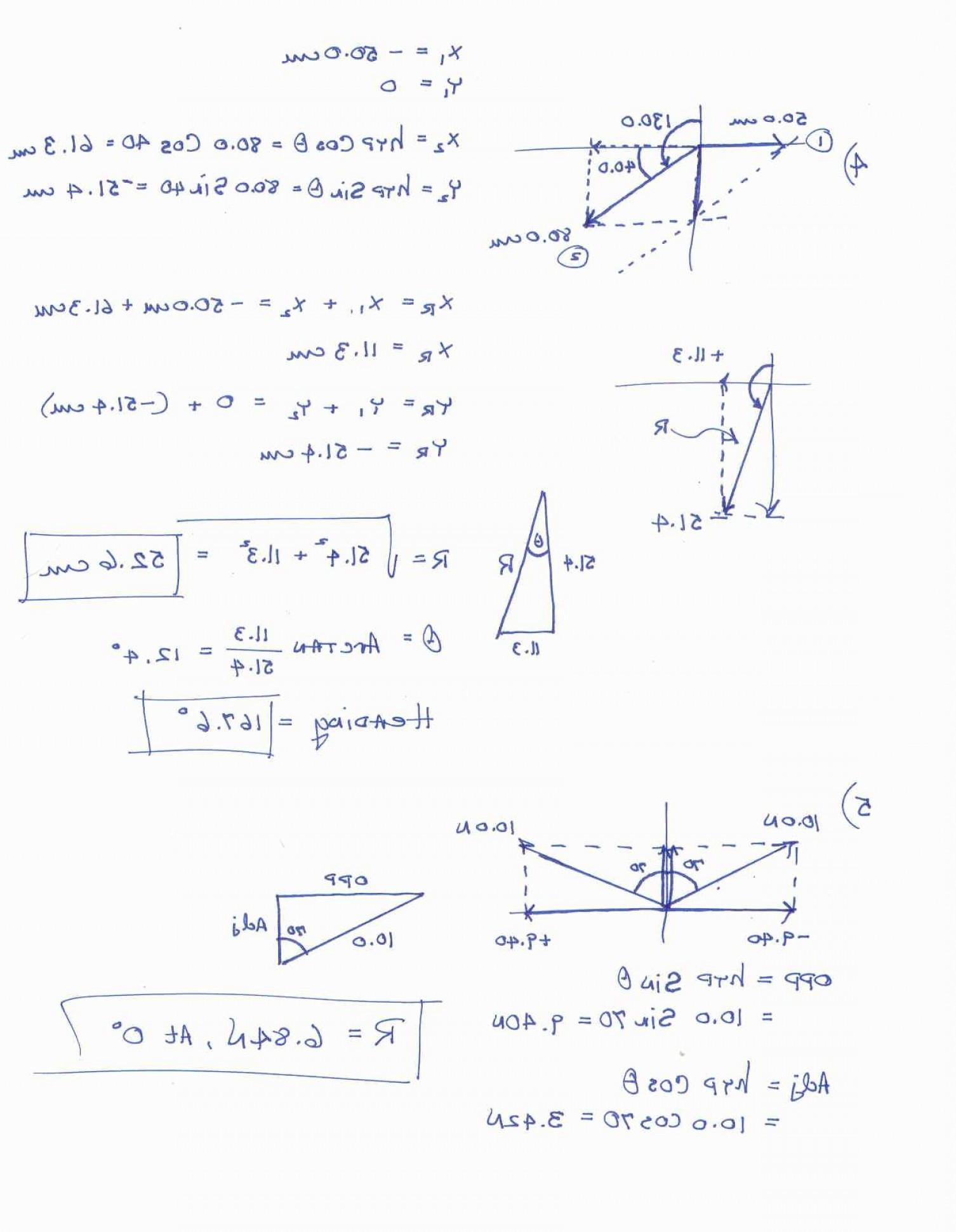 Vector Worksheet Physics Answers Vectors Physics Worksheet