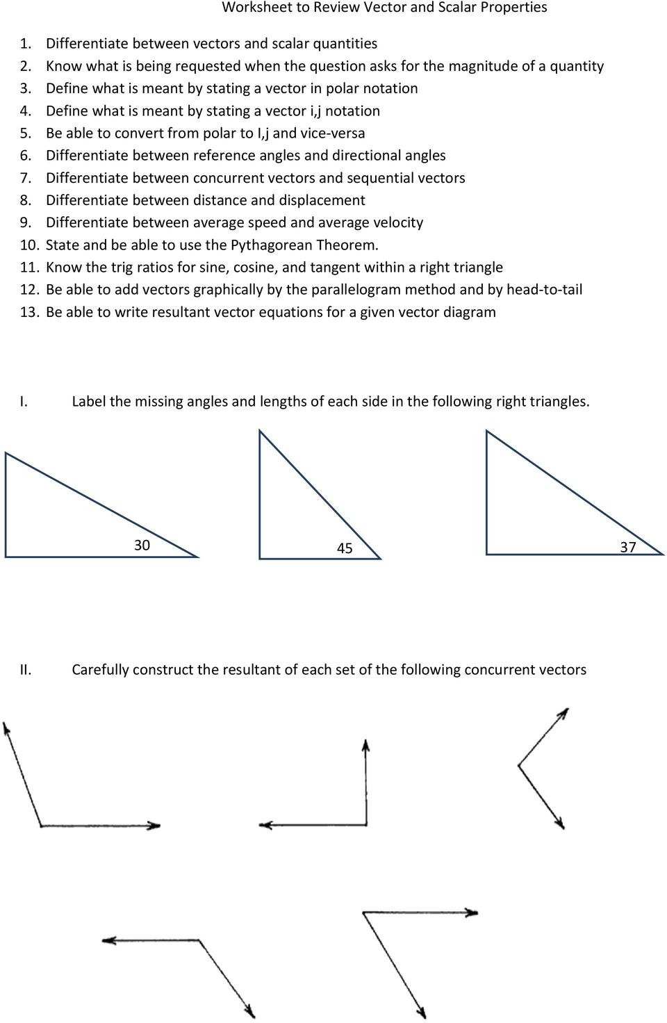 Vector Worksheet Physics Answers Worksheet to Review Vector and Scalar Properties Pdf Free