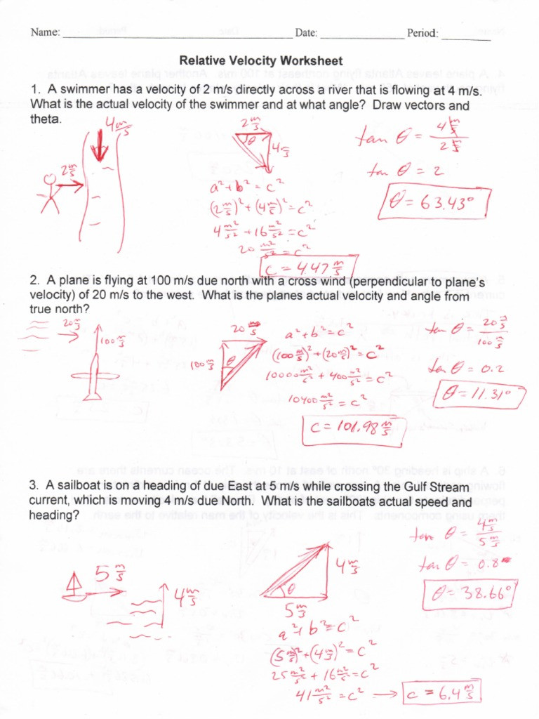 Velocity Worksheet with Answers Relative Velocity Worksheet Answers