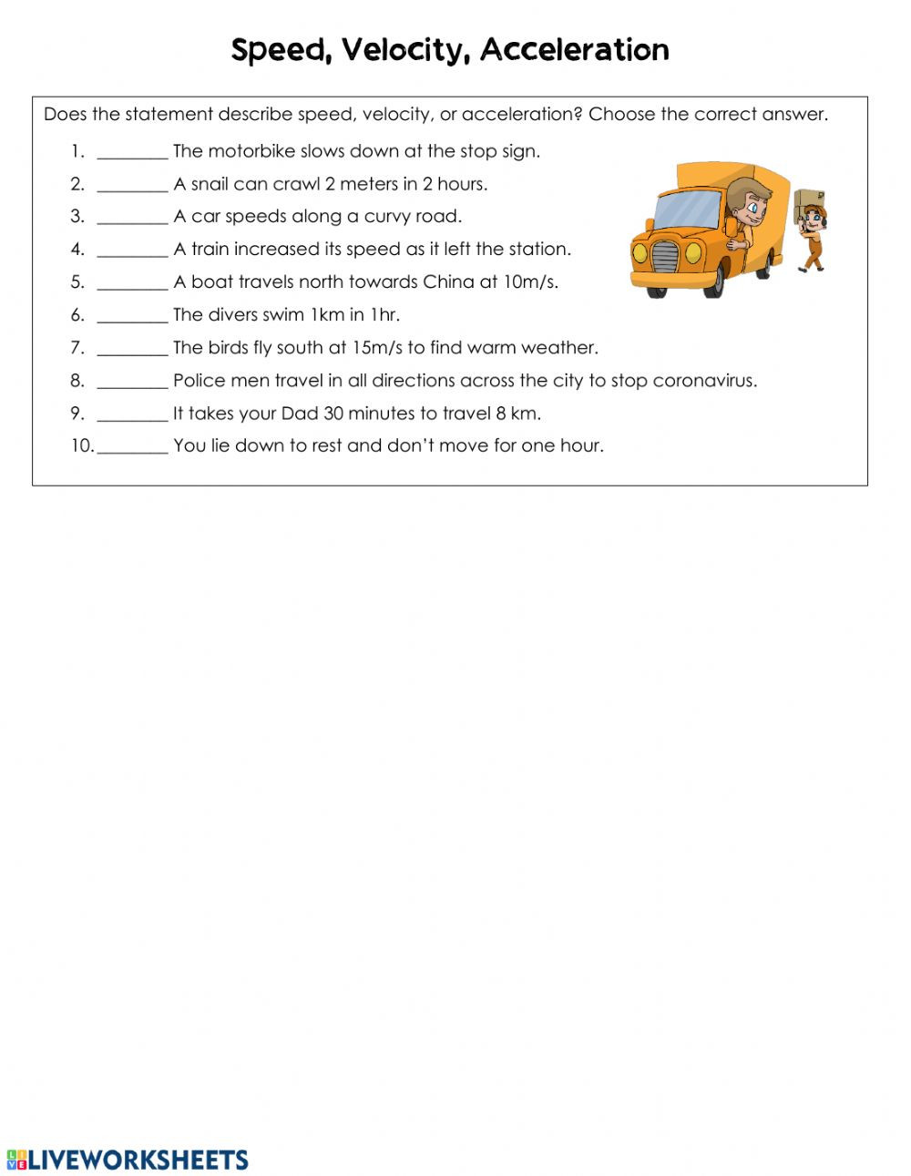 Velocity Worksheet with Answers Speed Velocity and Acceleration Interactive Worksheet