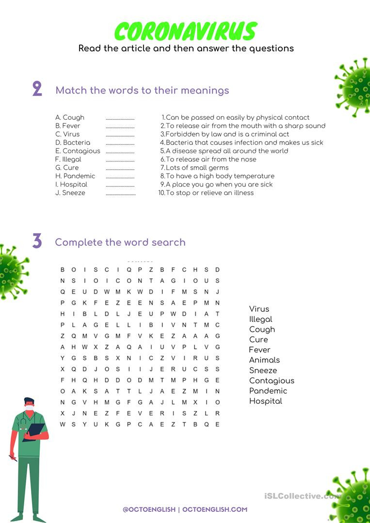 Virus and Bacteria Worksheet Reading Prehension Coronavirus English Esl Worksheets