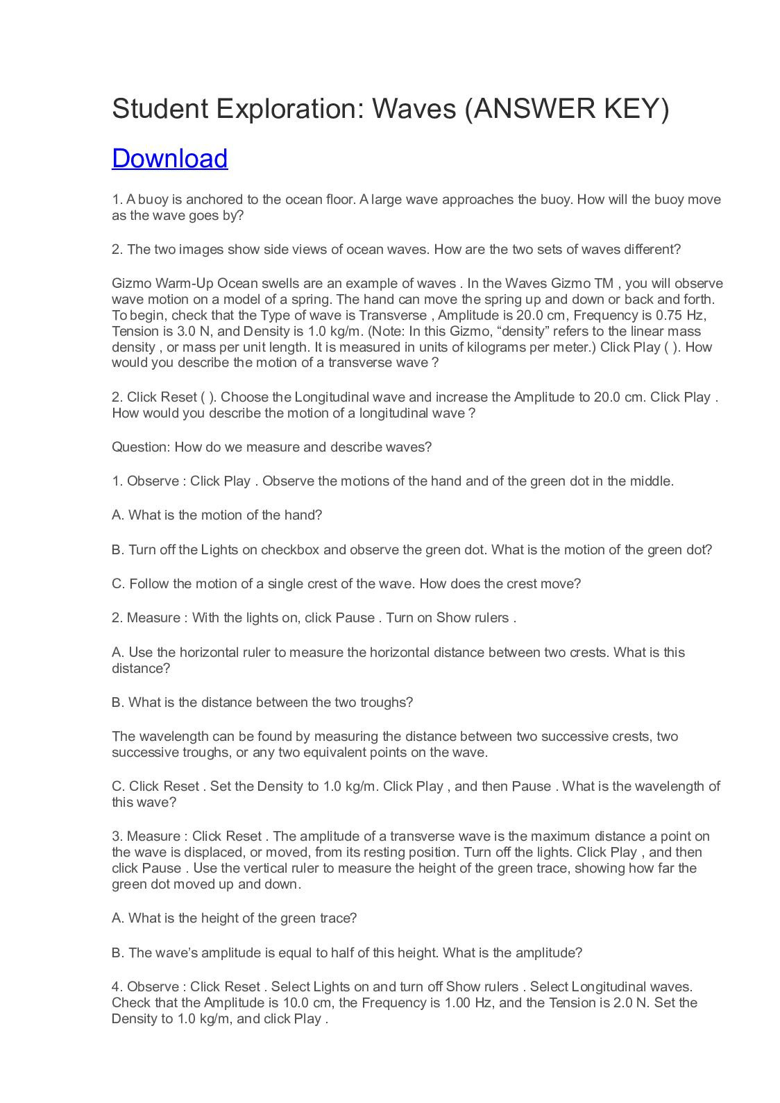 Waves Worksheet Answer Key Calaméo Student Exploration Waves Answer Key