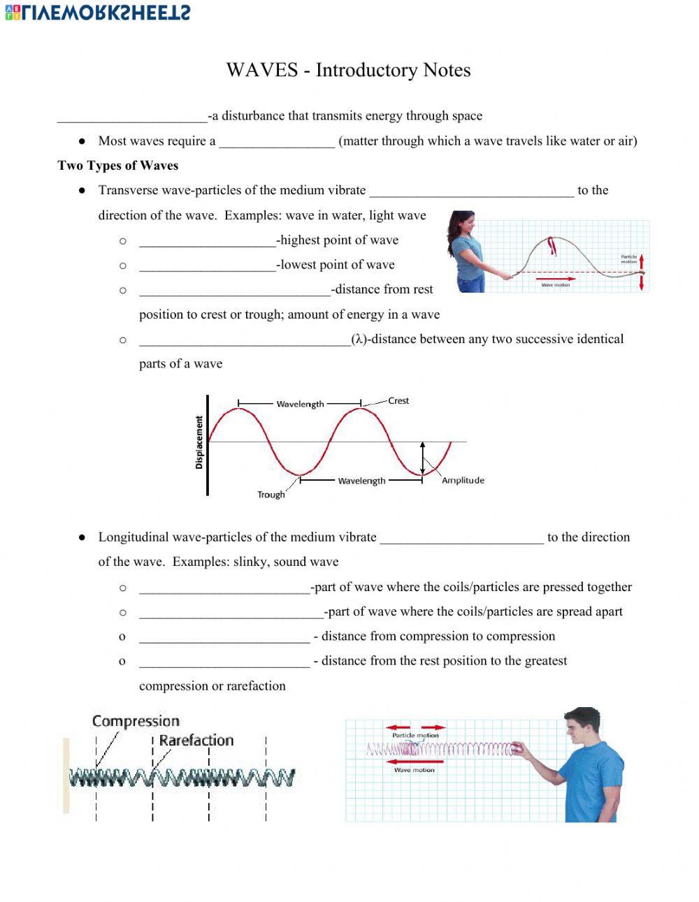 Waves Worksheet Answer Key Intro to Waves Interactive Worksheet