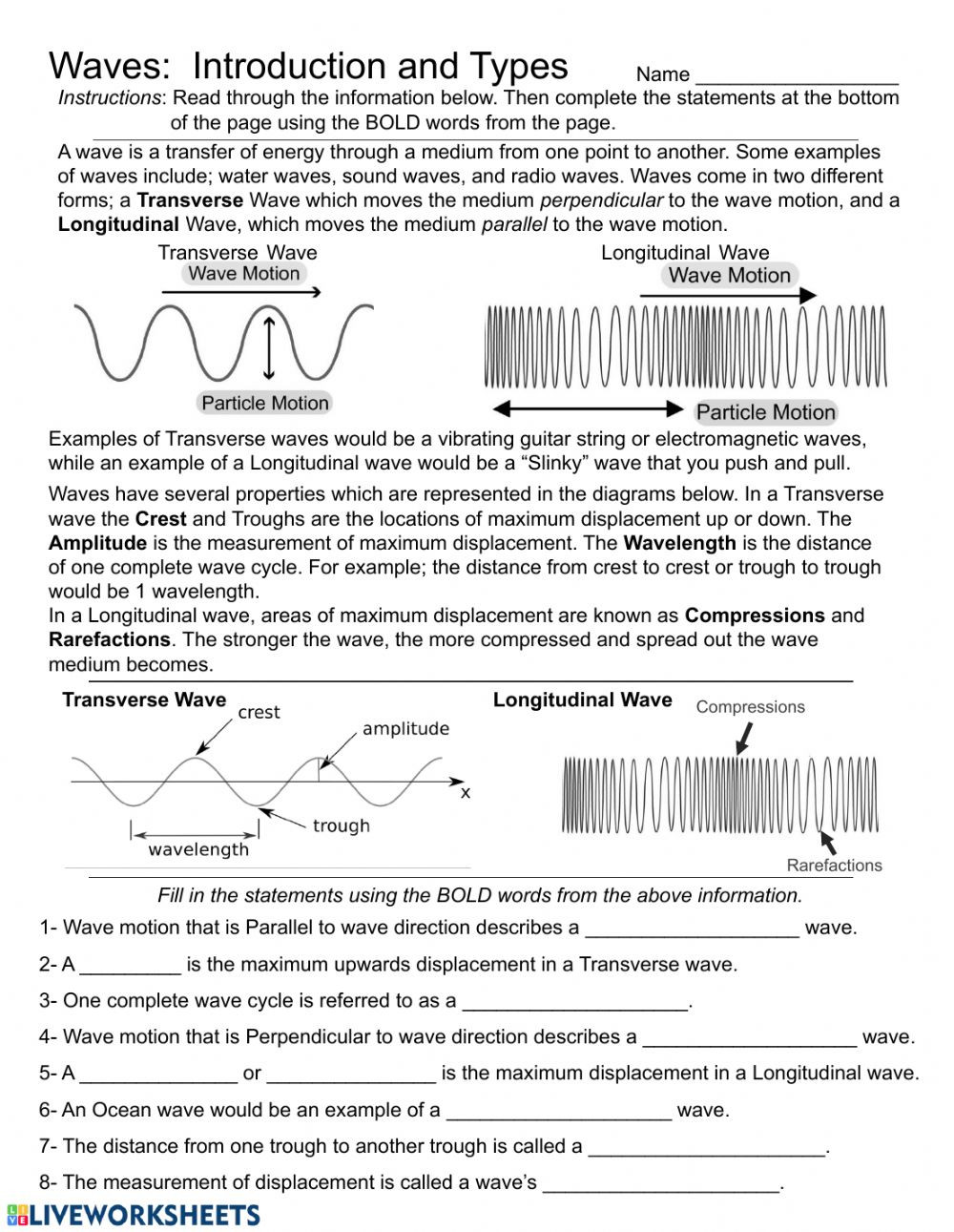 Waves Worksheet Answer Key Waves Introduction and Types Interactive Worksheet