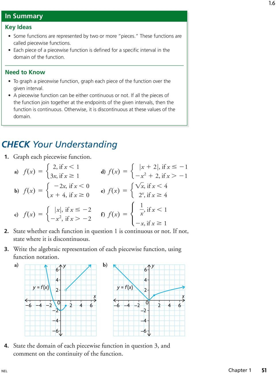 Worksheet Piecewise Functions Algebra 2 1 6 Piecewise Functions Learn About the Math Representing