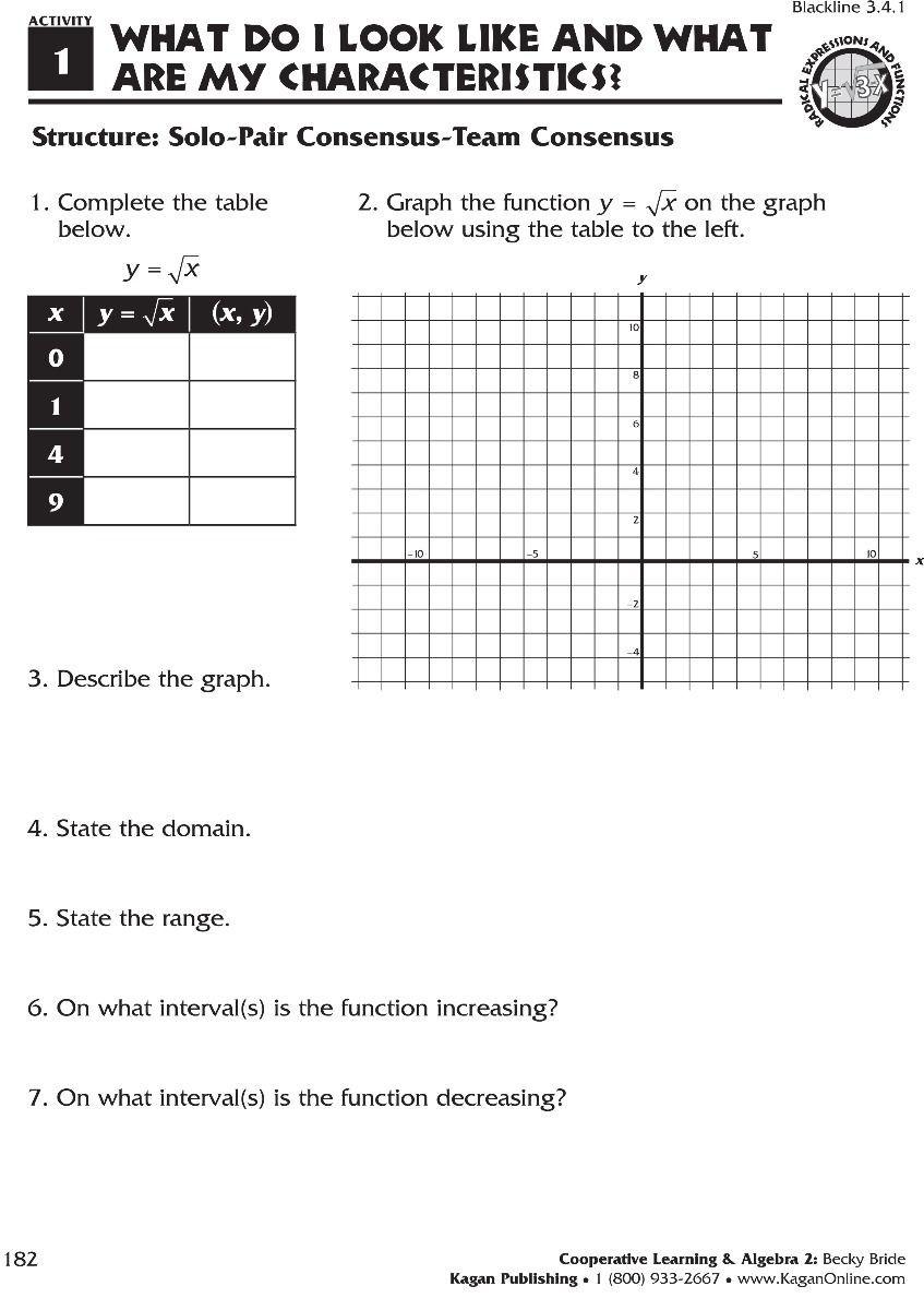 Worksheet Piecewise Functions Algebra 2 Cooperative Learning & Algebra 2 Grades 9 12
