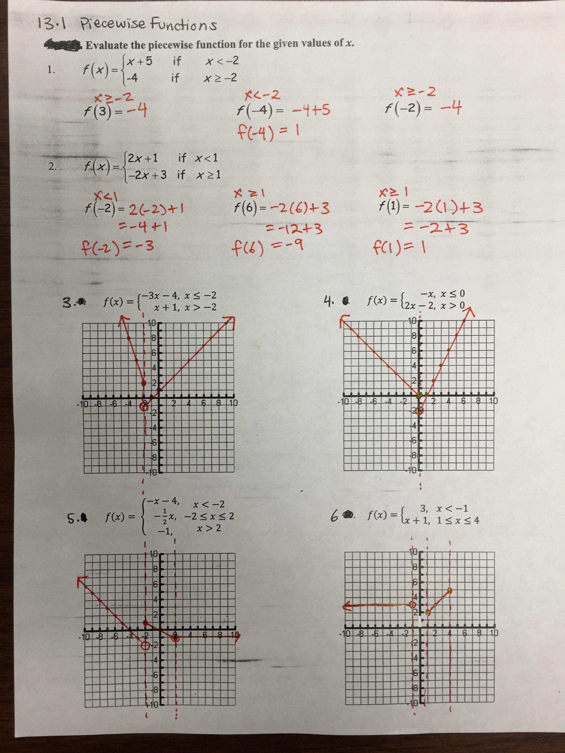 Worksheet Piecewise Functions Algebra 2 Worksheet Piecewise Functions Answers Key