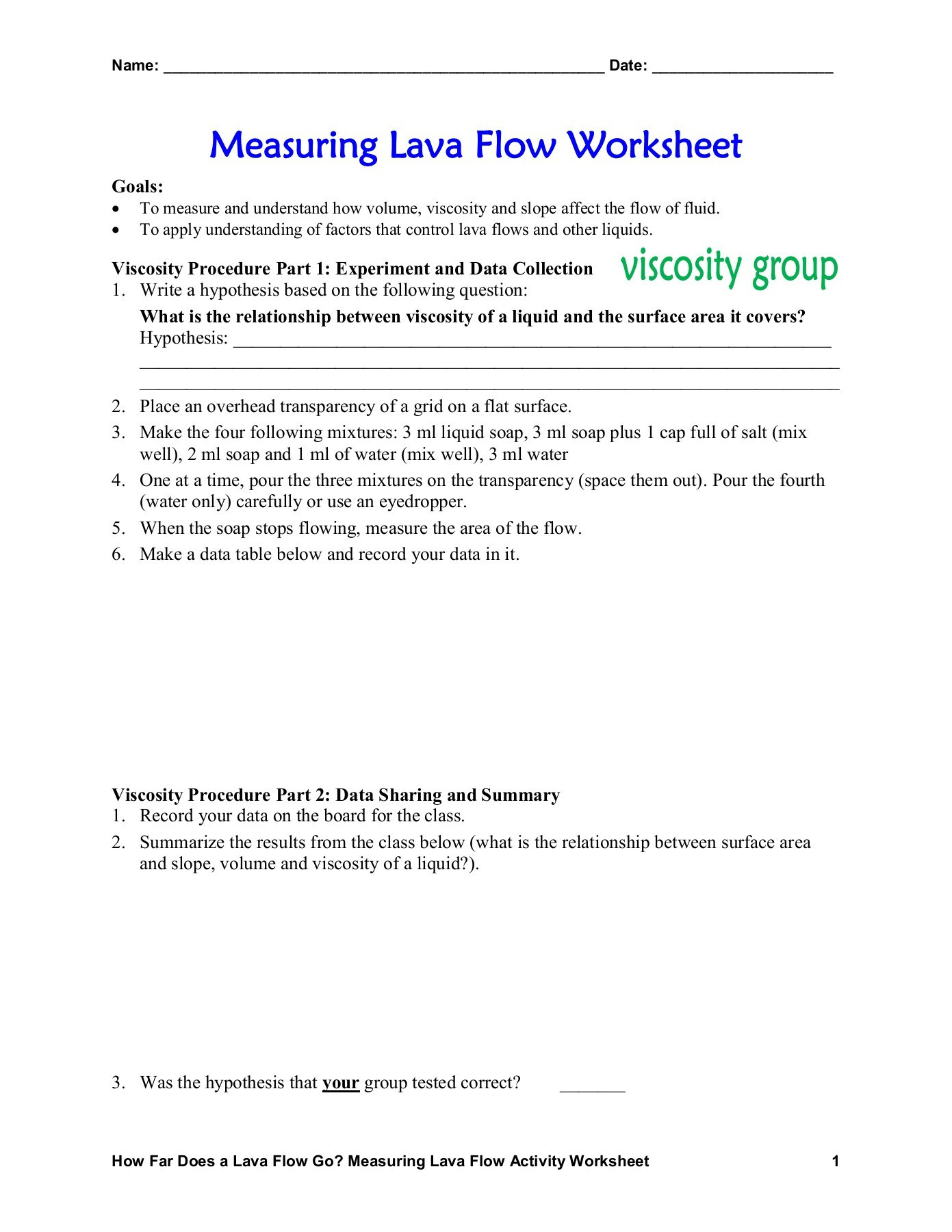 Writing A Hypothesis Worksheet Measuring Lava Flow Worksheet
