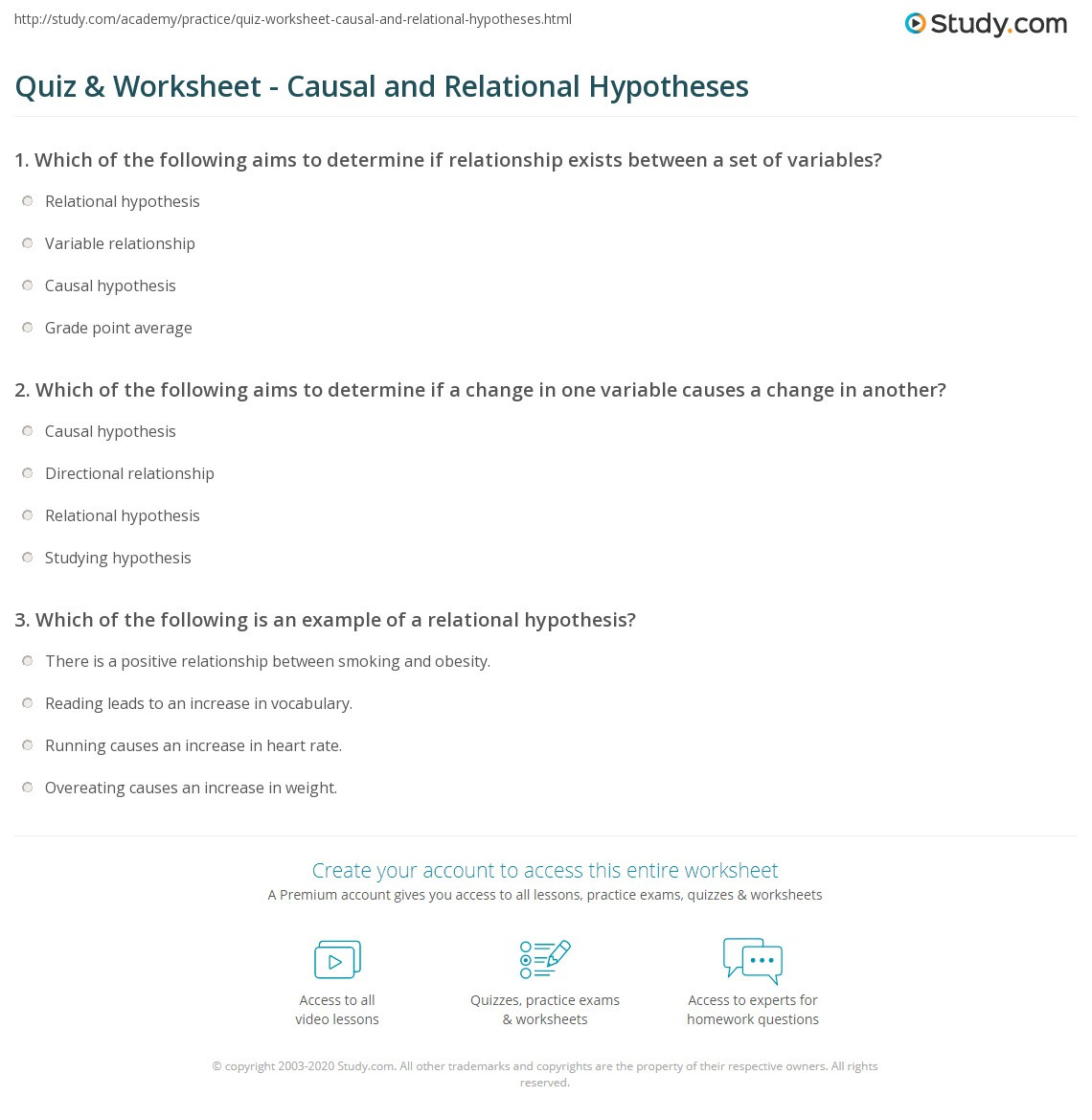 Writing A Hypothesis Worksheet Quiz & Worksheet Causal and Relational Hypotheses