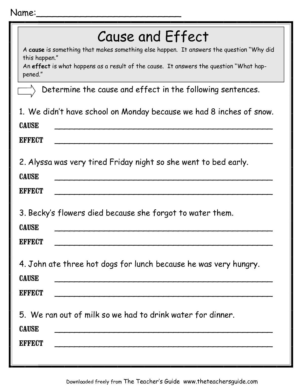 Writing A thesis Statement Worksheet How to Write Cause Effect Essay Example and Worksheets