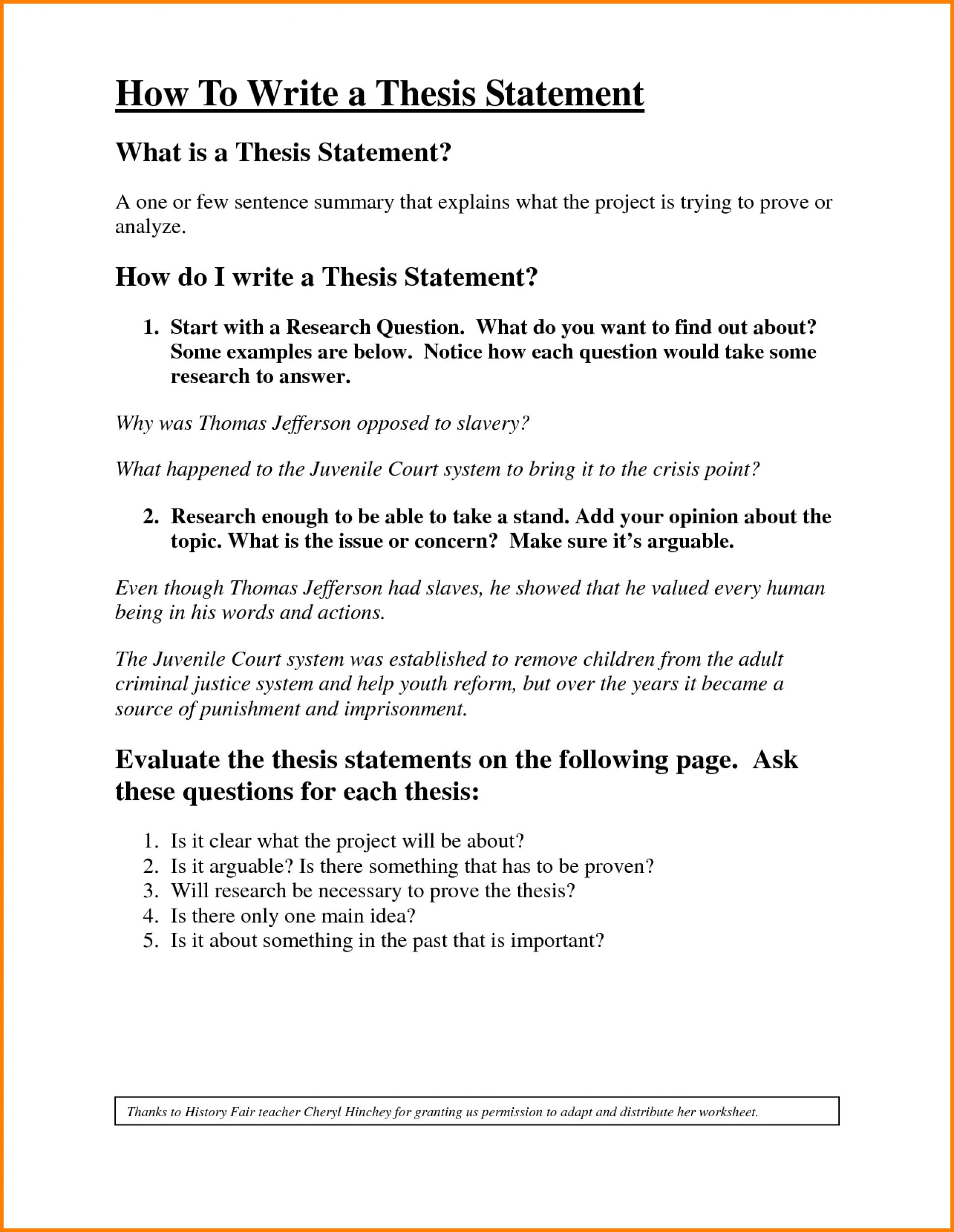 Writing A thesis Statement Worksheet Make thesis Statement Biography