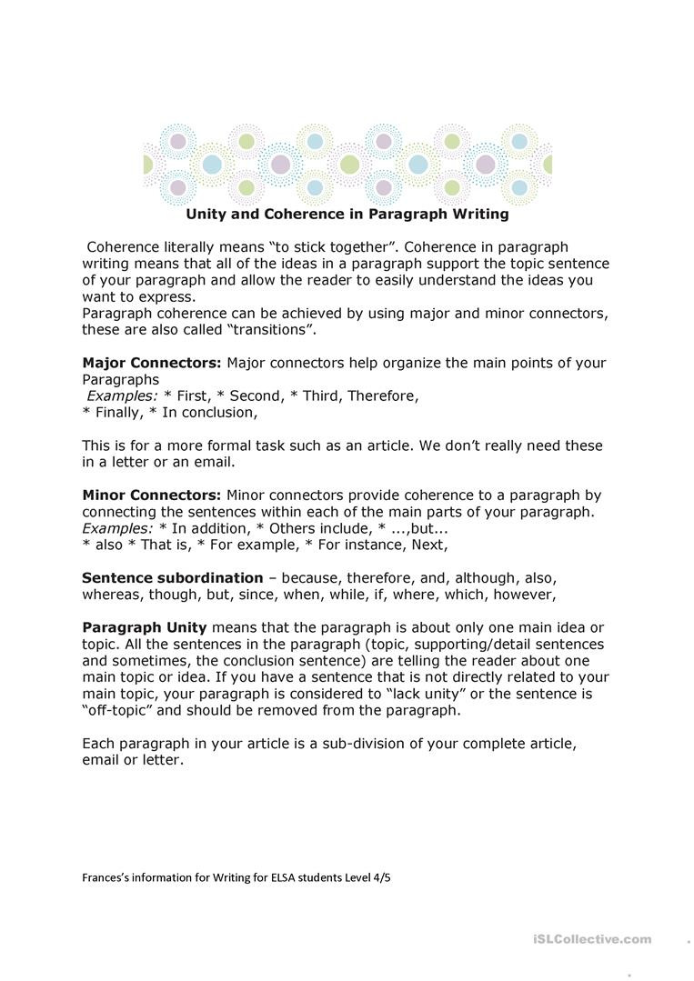 Writing A topic Sentence Worksheet Paragraph Unity and Coherence Worksheets