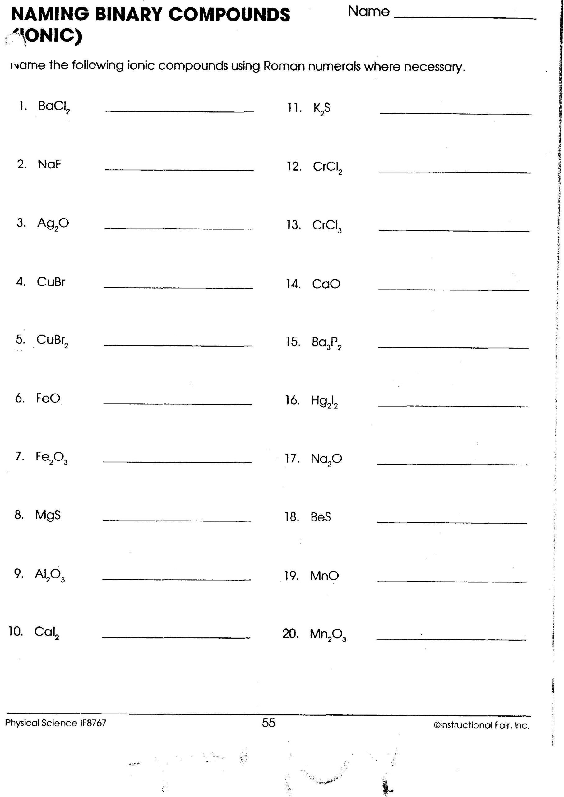 Writing Ionic formulas Worksheet Writing Binary Chemical formulas Worksheet