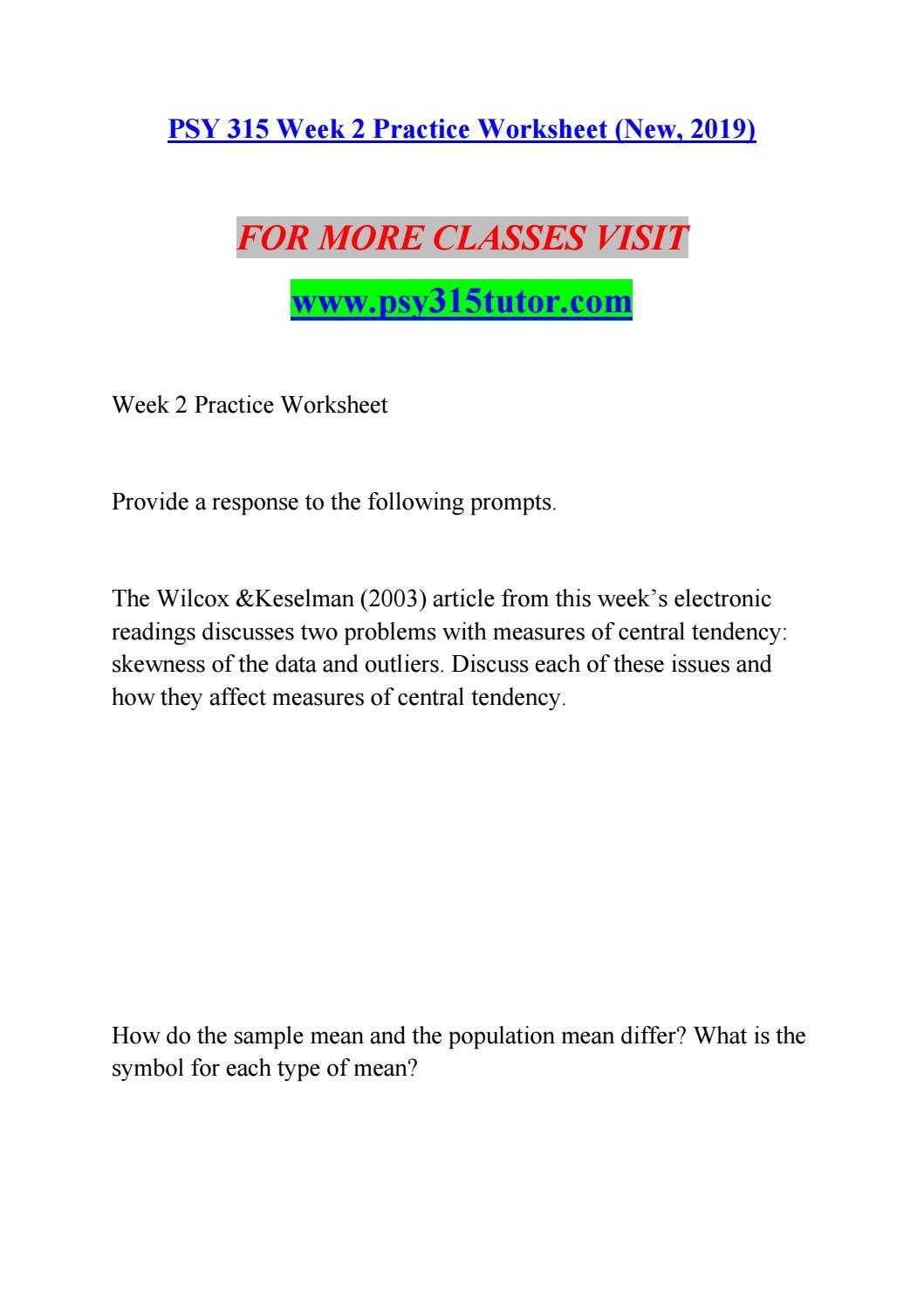 Z Score Practice Worksheet Psy 315 Week 2 Practice Worksheet New 2019 by Su