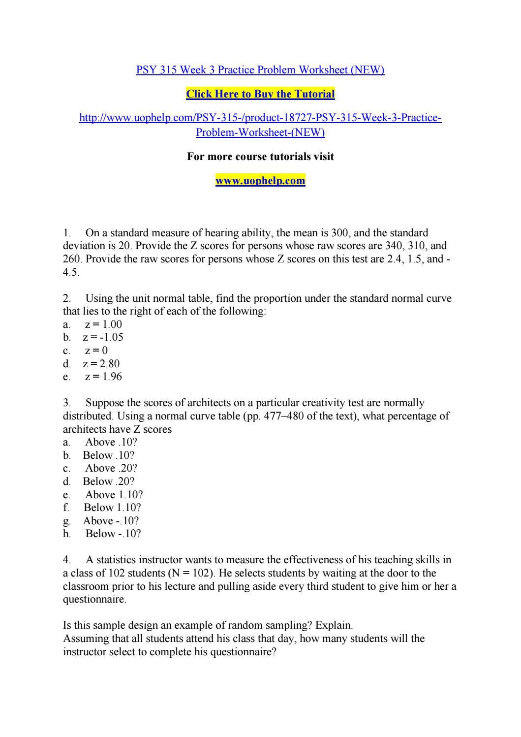 Z Score Practice Worksheet Psy 315 Week 3 Practice Problem Worksheet New by Cvfr issuu