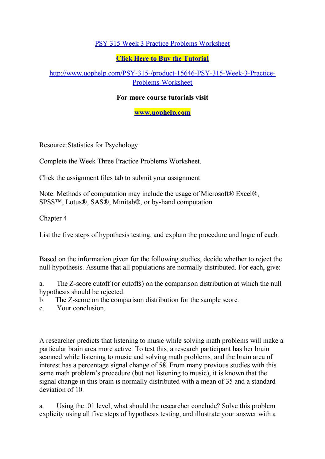 Z Score Practice Worksheet Psy 315 Week 3 Practice Problems Worksheet by Pinck92 issuu