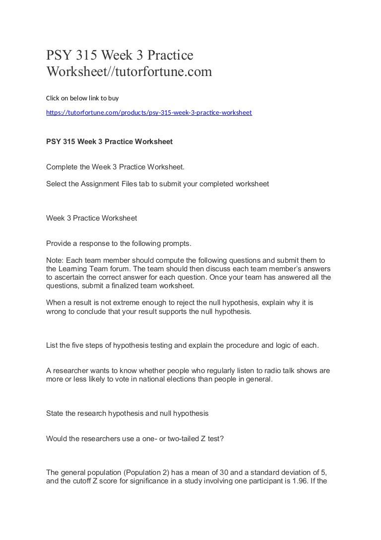 Z Score Practice Worksheet Psy 315 Week 3 Practice Worksheet